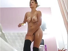 Sexy Latina slut wet oiled masturbation