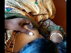 Tamil hubby pressing his wife big boobs in saree while watching tamil news on tv