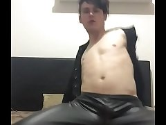 Aussie boy approximately leather strips lascivious shakes ass and cock