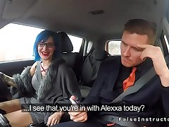 Sexy haired driving student gets doggy