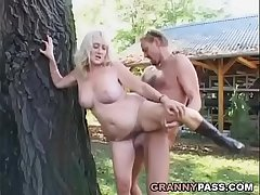 Busty Grown up Receives Facial cumshot Spunk flow Outdoor