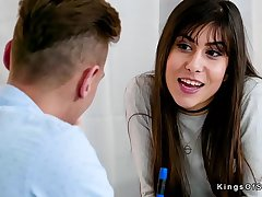 Horny teen bangs her big cock Spanish tutor