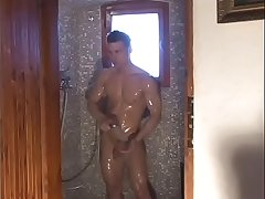friends boys with shower