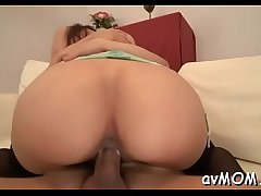 Slutty mom with fat love button and sextoy