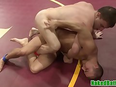 Naked chaps wrestling in front anal invasion pounding