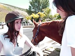 Juicy young crunchies Ally Evans, Kara Imbue enjoy their lessons at Lesbian Riding School